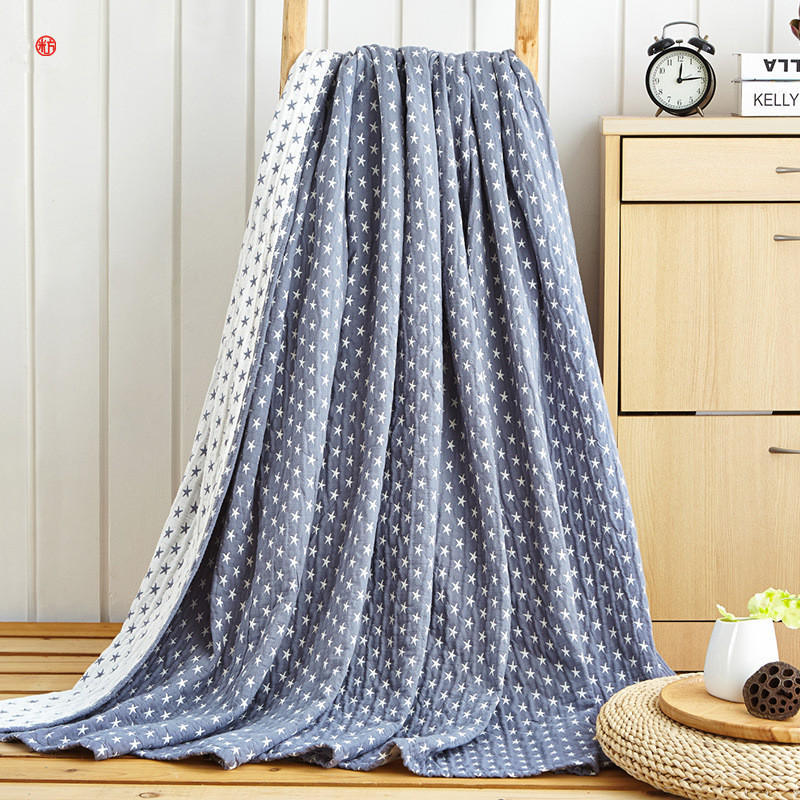 Home bedding AB side 100%Cotton Blue Star Towel Blanket Summer Camel Gray Blanket 150*20 ...
