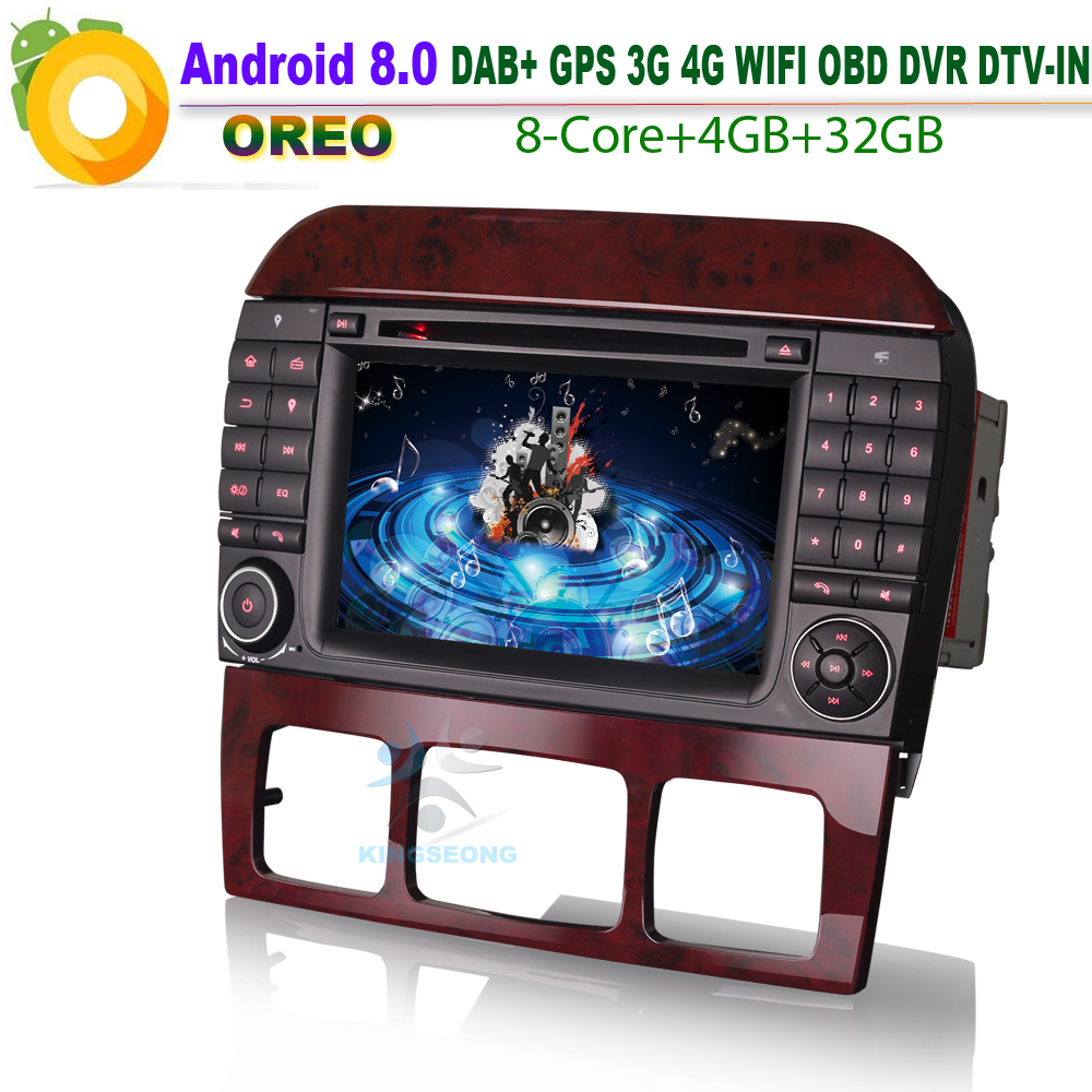 Android 8.0 Autoradio GPS DAB+ WiFi CD DVB-T2 Radio RDS BT DVD USB Car CD player For Mercedes S/CL Klasse W220 W215 S500 CL55