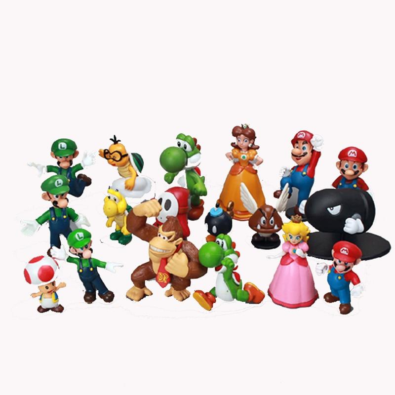 ⊱18 unids/lote lindo Super Mario figuras de juguete Super Mario ...