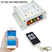 5V 7V 9V 12V 24V 28V DC 4CH WIFI Switch Remote Control Relay Timer Interruptor RF
