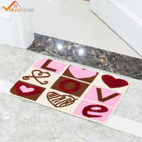 40x60cm/50x80cm Polyester Floor Door Mats Latex Back LOVE Letters Non Slip Bathroom Rugs and Mats Absorption Water