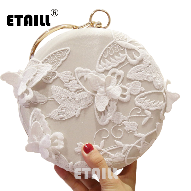 ETAILL White Lace Butterfly Round Embroidery Evening Bag Circular Chain Clutches Wedding Party Metal Ring Handbag  Banquet Purse lace butterfly flowers laser cut white bow wedding invitations printing blank elegant invitation card kit casamento convite