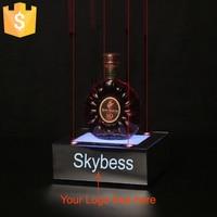 New arrival 4pcs Small Red LED Laser Wine Stand Red Wine Rack Gift holder LED Lights Free Logo OEM 4pcs/lot