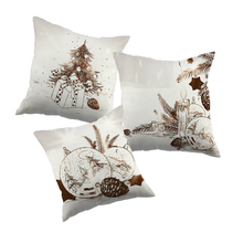Christmas tree pinecone balls printed cushion cover  polyester throw pillow case cushion cover for home for car for sofa