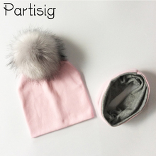Baby Cap Girls Faux Fur Pompom Hat Scarf Set Kids Boy's Winter Hats Cotton Children's Caps Baby Hat Bonnet недорого