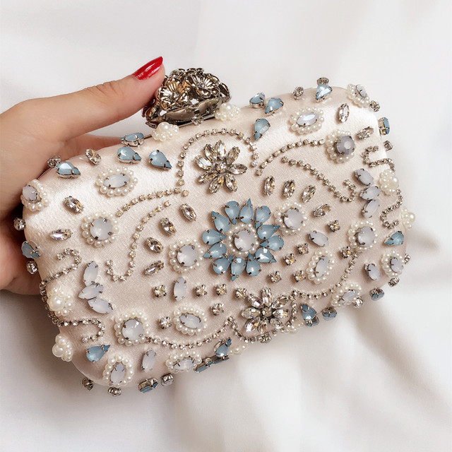 luxury vintage ladies evening party bags with rhinestone diamonds women's handbag clutch banquet day clutch one shoulder chain