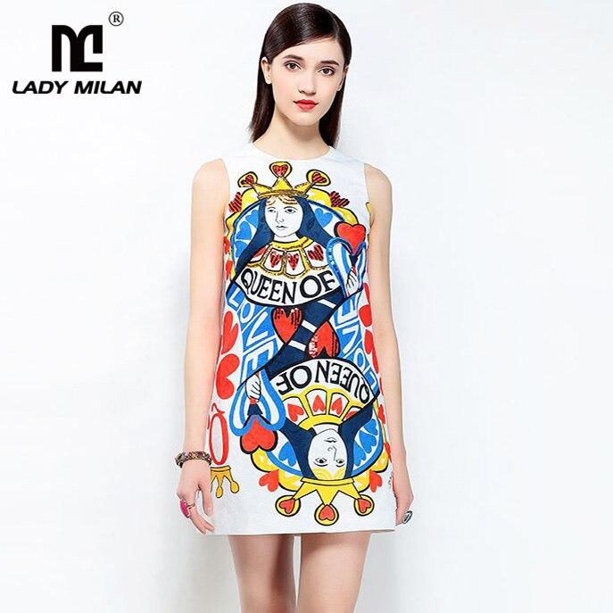 New Arrival 2018 Womens O Neck Sleeveless Cartoons Printed Sequined Dobby High Street A Line Fashion Short Dresses