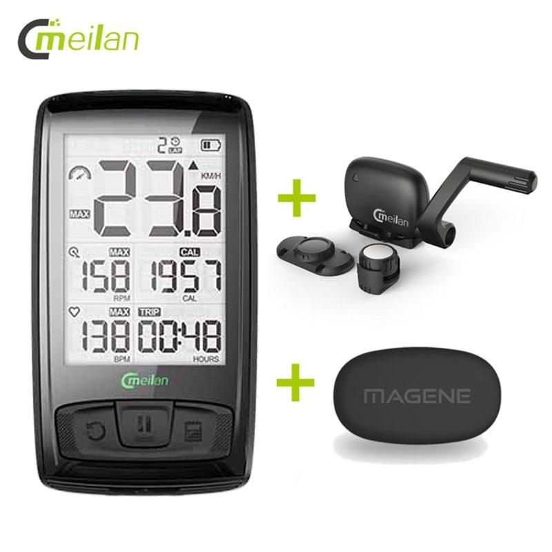 Ordinateur de vélo Bluetooth Moniteur de Fréquence Cardiaque Sans Fil Vélo Compteur De Vitesse Tachymètre Cadence + Vitesse Capteur Météo Température