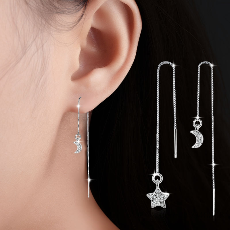 Tassel Earrings Wedding-Jewelry Crystal Swarovski Moon Fashion New Stars Long-Asymmetrical