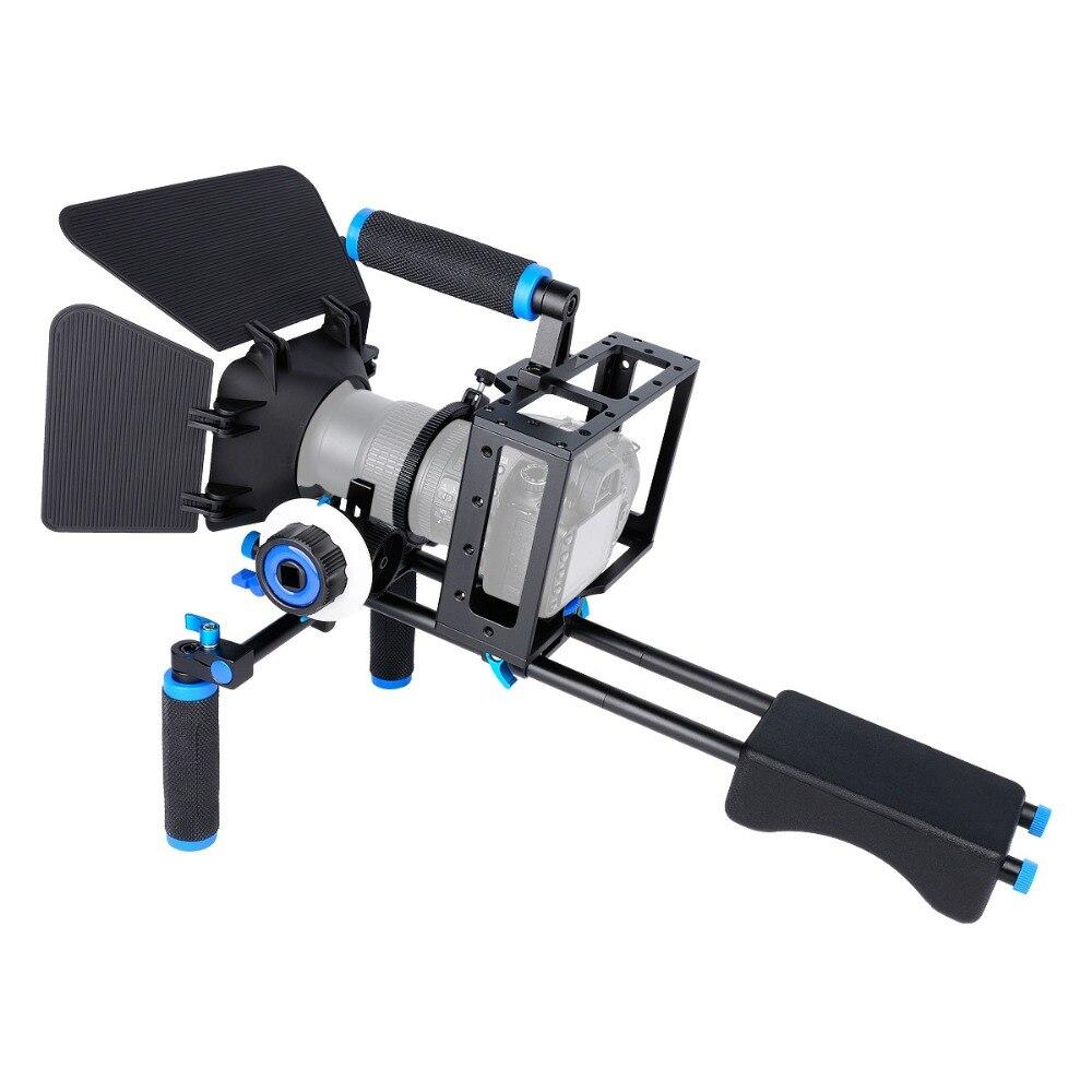 Профессиональный наплечный стабилизатор видеокамеры DSLR опорная клетка матовые окна Follow Focus для Canon Nikon Sony видеокамера