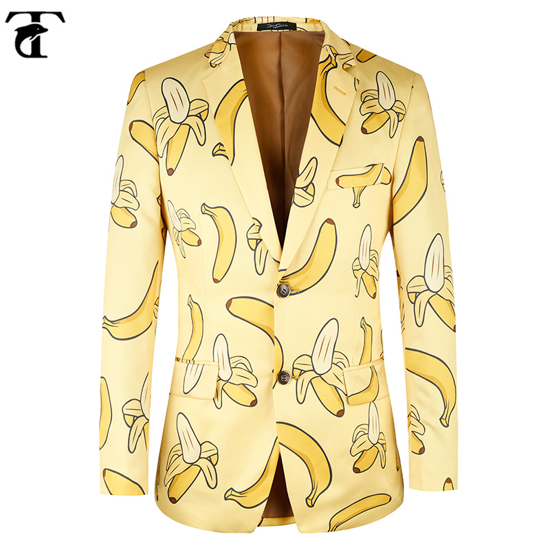TOTURN Men Suit Jacket Casual Banana Pattern Fashion Yellow Men Suit Blazer High Quality Brand Jacket Men Plus Euro Size 44-58