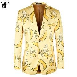 TOTURN Uomini Giacca Casual Banana modello di modo Uomini Gialli giacca sportiva del vestito di alta qualità di Marca uomini giacca plus Size Euro 44-58