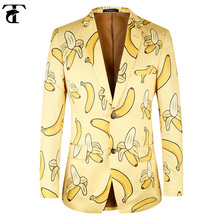 TOTURN Men Suit Jacket Casual Banana pattern fashion Yellow Men suit blazer high quality Brand jacket men plus Euro Size 44-58