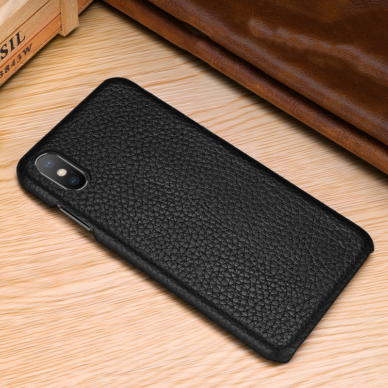 Image 4 - First layer cowhide Business Genuine Leather case cover For Iphone XS MAX XS XR X Matte Phone CaseFitted Cases