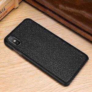 Image 4 - שכבה הראשונה עור פרה אמיתי עסקי עור מקרה כיסוי עבור Iphone XS מקס XS XR X מט טלפון מקרה