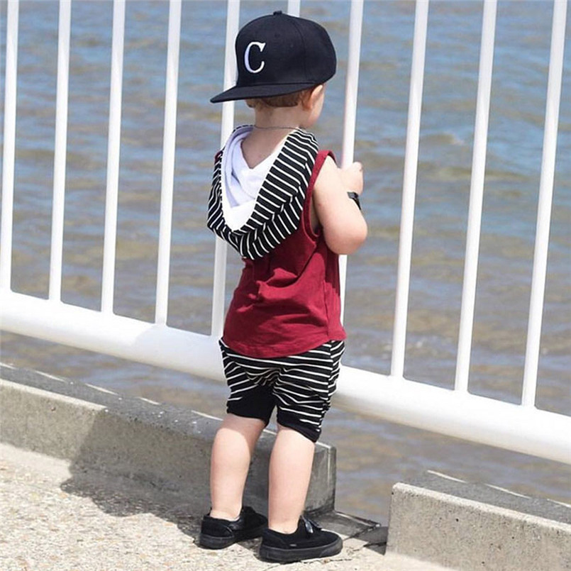 The new fashion cute design Toddler Kids Baby Boy Hooded Vest Tops+Shorts Pants 2pcs Outfits Clothes Set #4A08 (14)