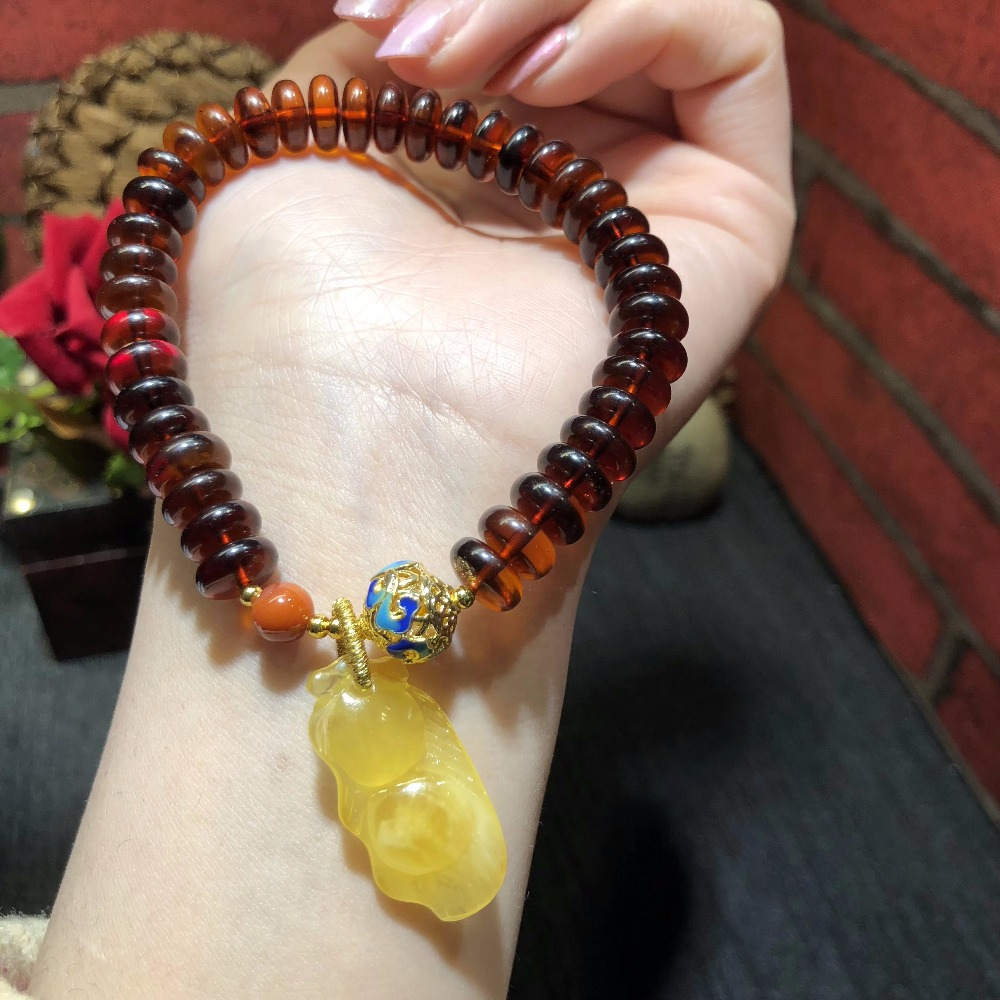 Natural Baltic Blood Amber with Yolk Color Amber Pendant Bracelet for Women Abacus beads European Fashion Jewelry Supplier pure hand made string beads bracelet amber abacus beads fringed bracelets baking blue craft accessories direct