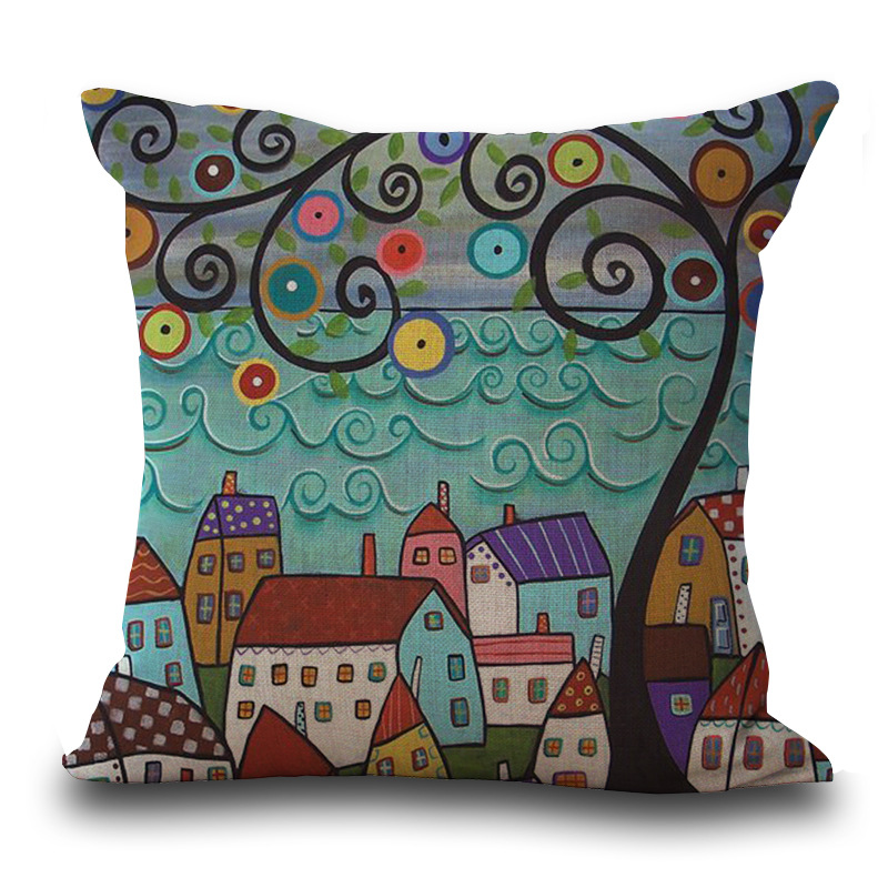 RECOLOUR Linen Pillow Cover Vintage European Building Style Pattern Cushion Cover Home Decorative Cheap Pillow Case 45x45cm in Cushion Cover from Home Garden