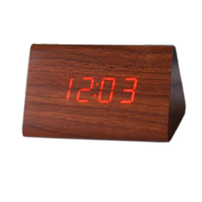 Dřevěný dřevěný digitální budík, stolní LED hodiny s datem teploměru, noční stolní stolní elektronická ložnice hodiny