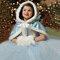 2016 Novo Vestido de Festa Da Princesa Da Menina Do Natal Outono Inverno Meninas Vestidos Brancos de neve + Tippet 2 Pcs Set Elsa Princesa Cosplay 3-9 T