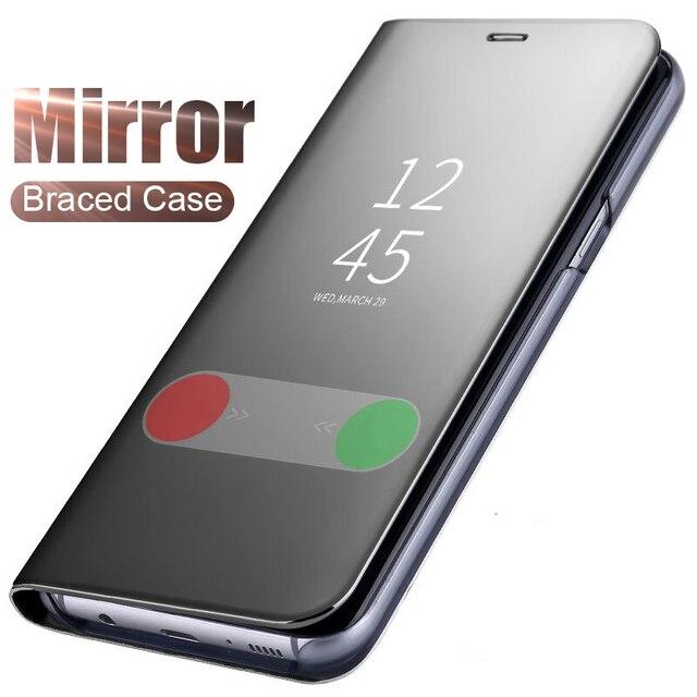Mi rror View Dành Cho Tiểu mi Đỏ Mi Note 7 Lật Da Đứng Bao Da PocoPhone F1 Mi 8 A1 a2 Lite Đỏ MI 5 Plus Note 4X S2 6 Pro