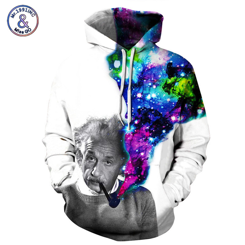 Mr.1991INC New Fashion Brand 3D Hoodies Men/Women Sweatshirts Print Starry Sky Einstein Hoodies Unisex Hoody Pullovers