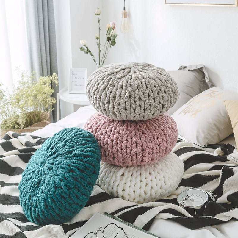 Nordic Handmade Round Pillow for Sofa Knitted Wool Pillow ...