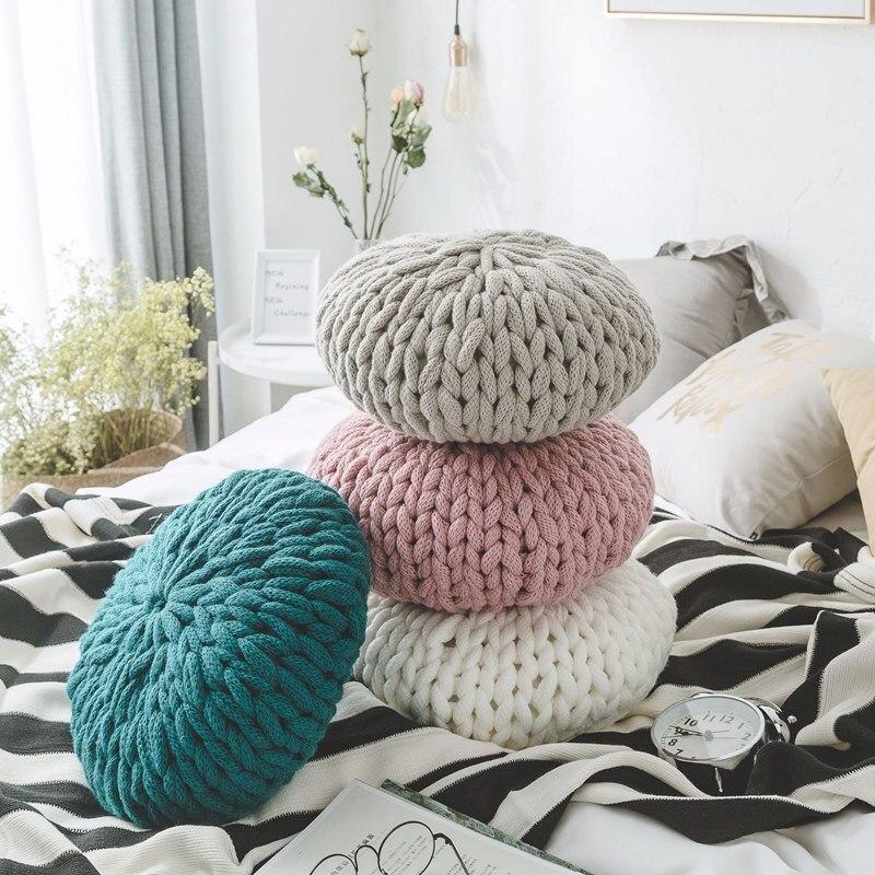 Vintage à la main en laine de coton tricoté rond oreiller coussin bleu rose oreillers jeter siège de voiture chaise canapé décoration de la maison oreillers