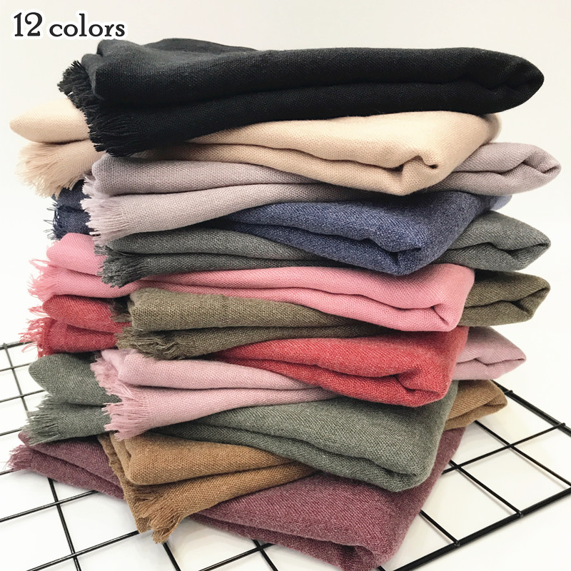 Festival Present Warm Scarf Plain Scarves And Shawl Fringe Winter Scarf Soft Muslim Print Hijab Solid Pashmina Wrap 12color