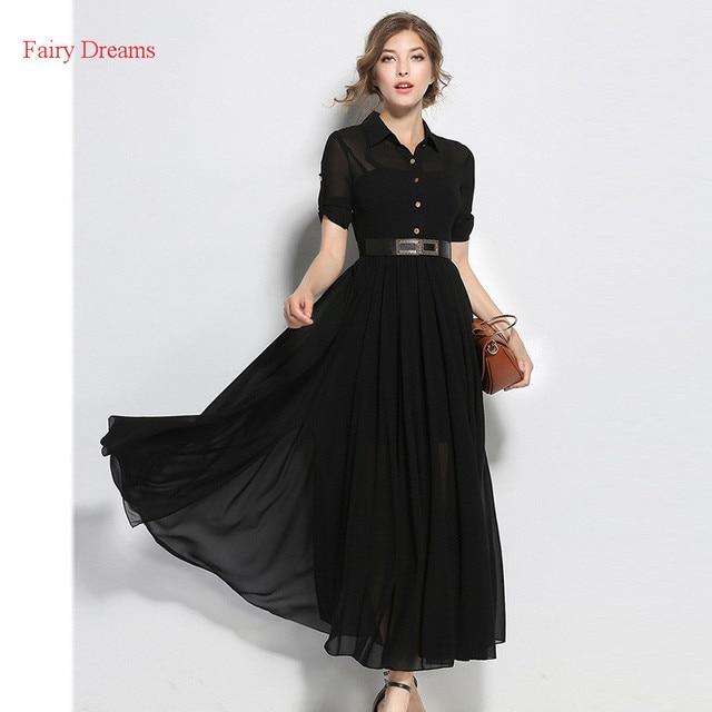 Fairy Dreams Women Autumn Maxi Dress Black Long Shirt Dresses ...