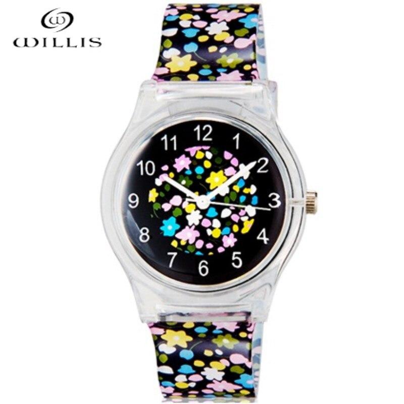 WILLIS Brand Women Waterproof Watch Flowers Pattern Student Kids Women Analog Quartz Wrist Waterproof girl Silicone clock Watch dudini waterproof women