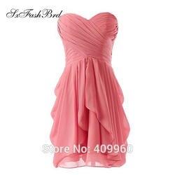 Милая Pleat Back Открыть шифон линии талии по колено платье подружки невесты Праздничное платье Longo