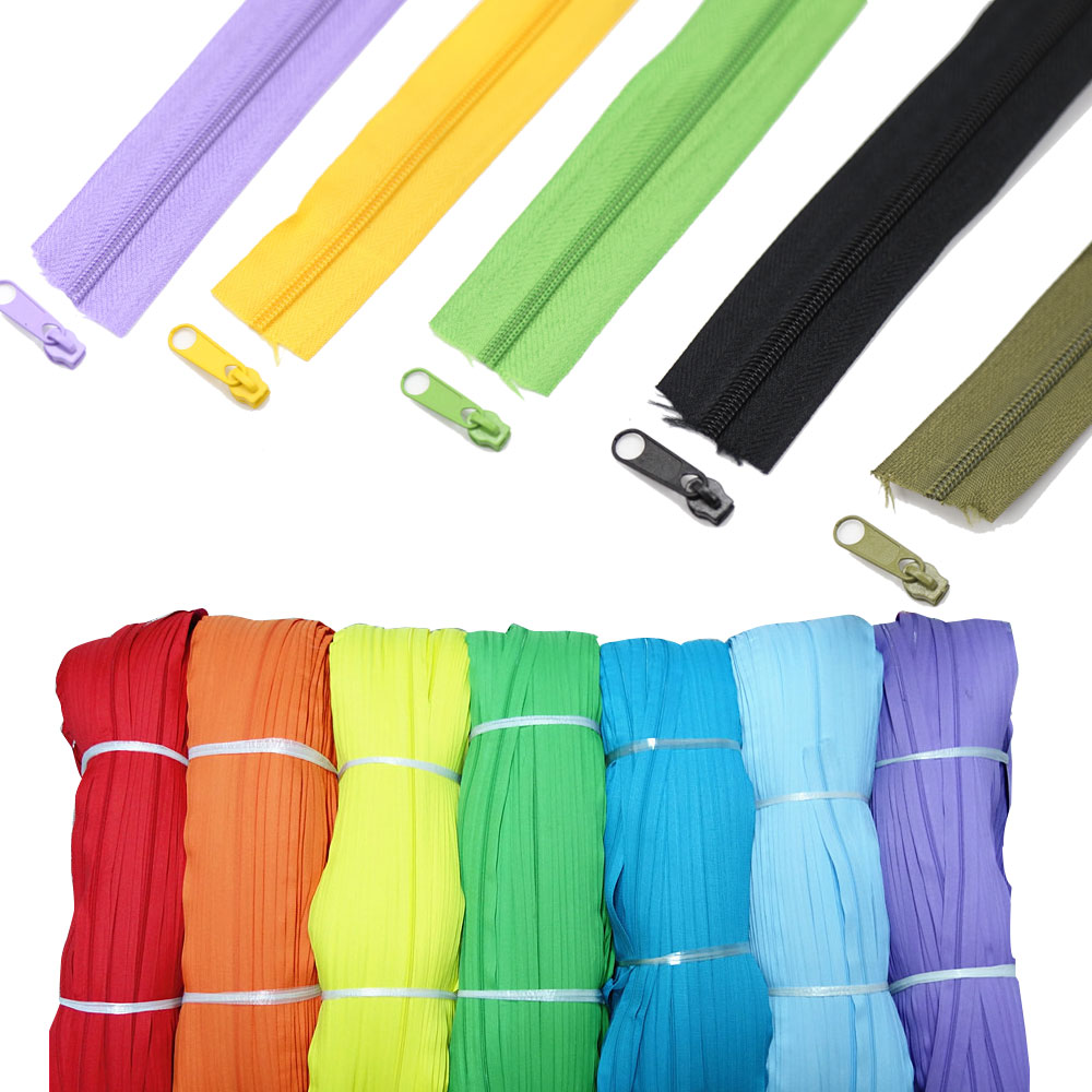 3 Meters #3 Nylon Coil Zippers With Color Matched Sliders For DIY Sewing Garment Accessories 24 Colors Option