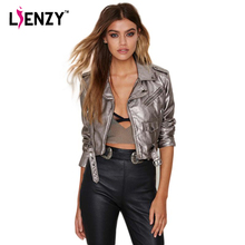 LIENZY Spring Black Lapel Oblique Zipper Crop Pu Jacket Punk Style Silver Bandage Women PU Leather Jacket Coat Casual Crop Tops