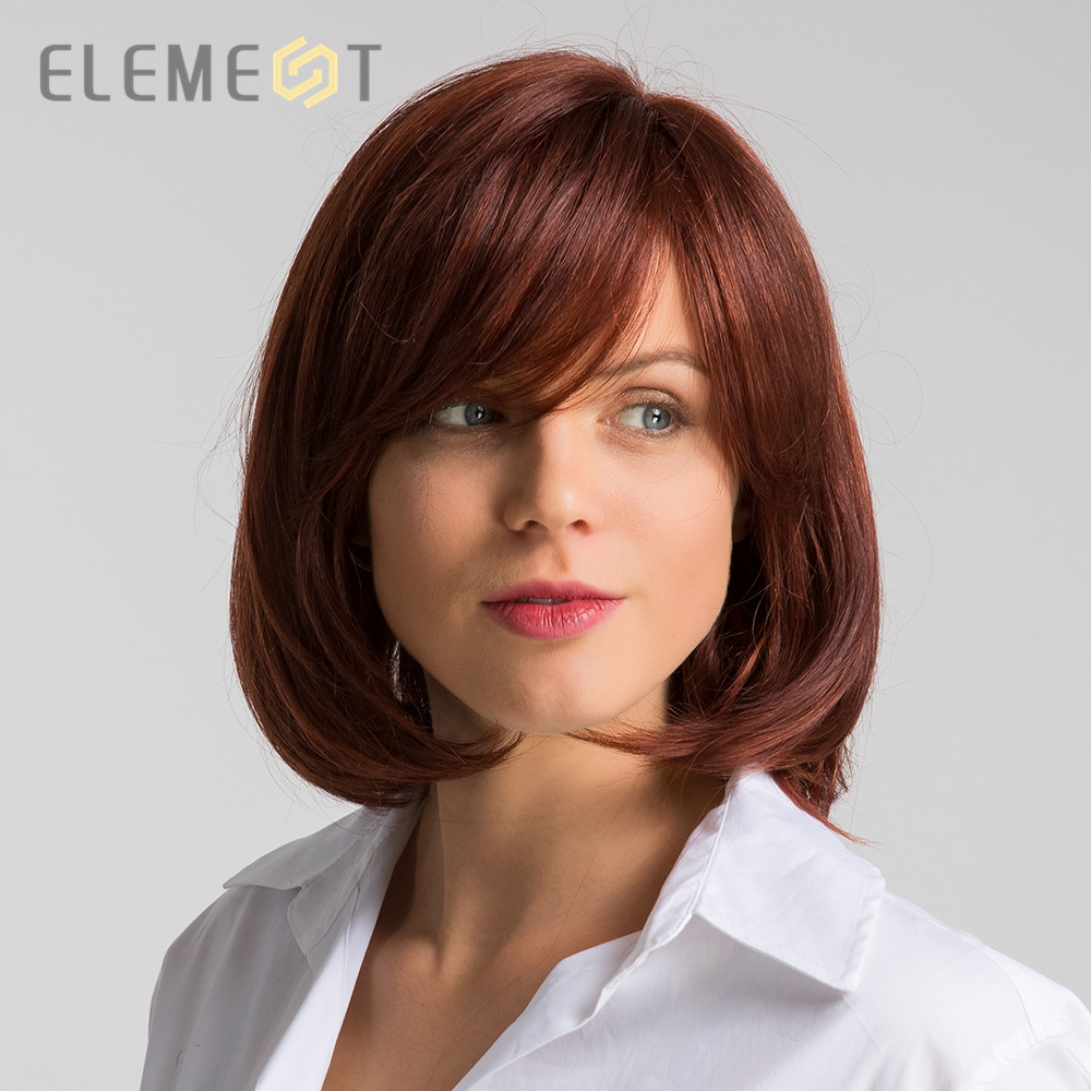 Element Heat Resistant Synthetic Brown Wig Blend 50% Human Hair High Density Pre Plucked Hairline 12 inch Long Wigs for Women