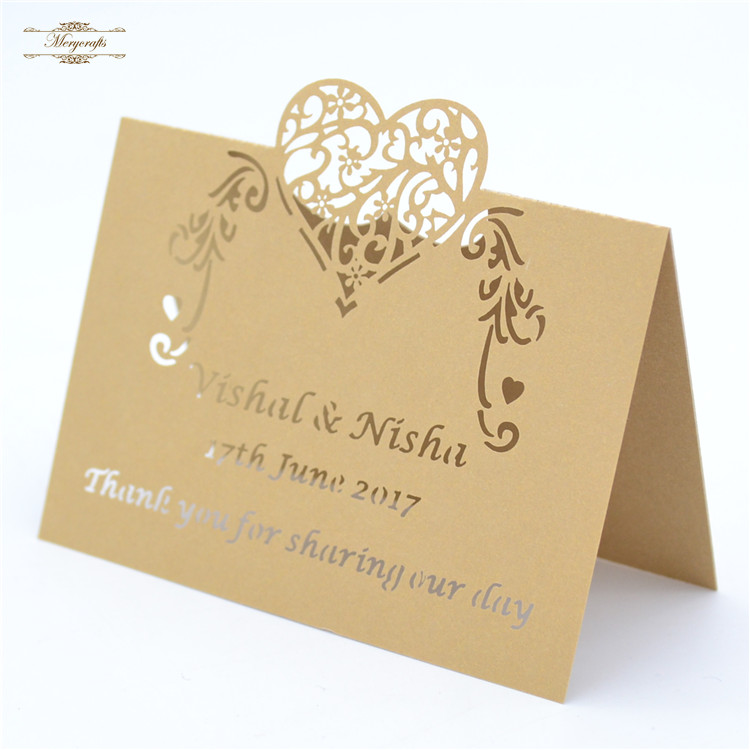 Return gift wedding decoration laser cut heart shaped table card various color image