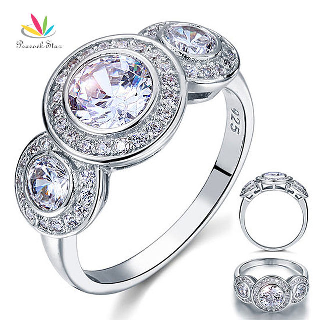 Peacock Star Art Deco 2.5 Carat Created Diamond Solid 925 Sterling Silver Wedding Engagement Ring Jewelry CFR8089