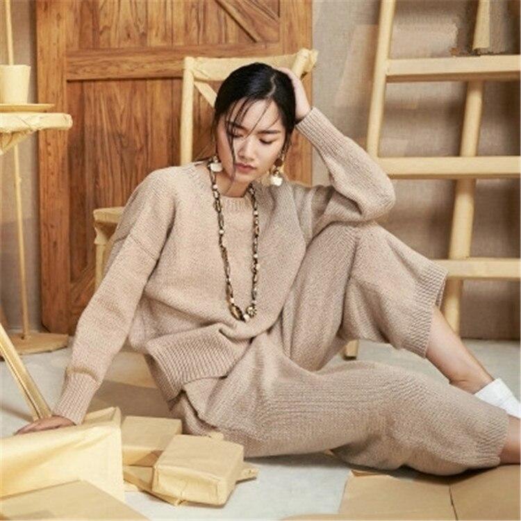 Damenmode 100Handarbeit reiner Wolle Farbe Knit aus Ma Lose Pullover Wei4 Feste Pullover Oneck geschneiderte qSjMpVLUzG