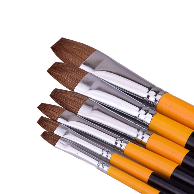 6pcs/set Weasel Hair Flat Peak Acrylic Art Craft Artist Oil Watercolor Painting Paint Brush Row Pen Art Supplies