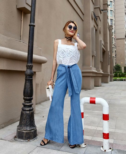 fbda9c1fd5f 2018 Autumn Soft Jeans Elastic High Waist Flare Pants Comfort Denim Wide  Leg Pants Baggy Loose Casual Retro Trousers For Women