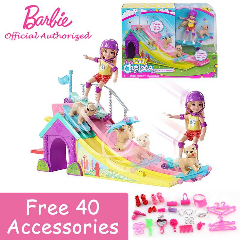 Barbie Authorize Girl Toys Barbie Club Chelsea Doll and Skate Ramp Exercise Fashion Girl Funny Puppy Toys For Birthday FBM99 игра для ps3 медиа barbie and her sisters puppy rescue