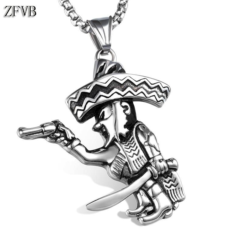 ZFVB Vintage Caribbean Pirates Necklaces Pendant Mens 316L Stainless Steel Hiphop Pistol Pendants Necklace Men Jewelry Gift