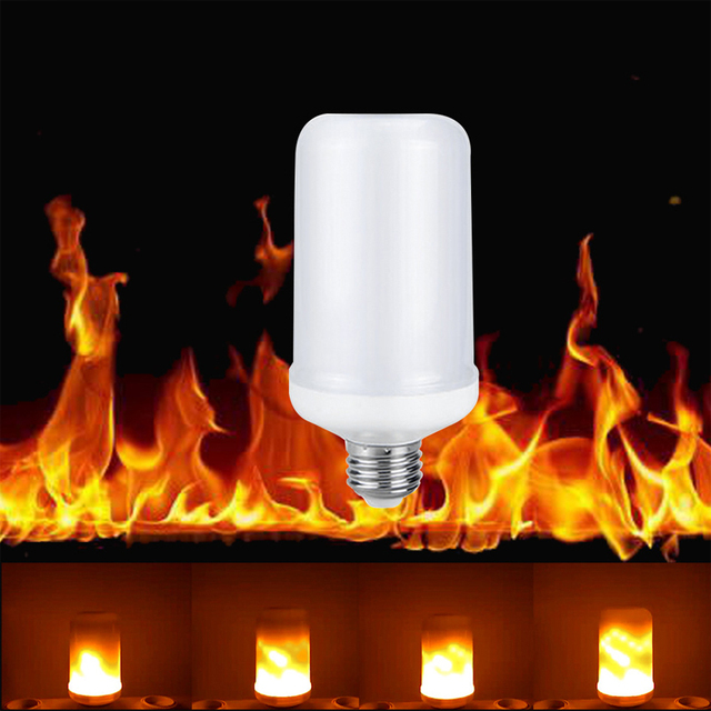 E27 Led Fire Flame Lamp Effect Light Bulbs 7w Flickering Emulation Vintage Atmosphere Decorative For Outdoor Wall