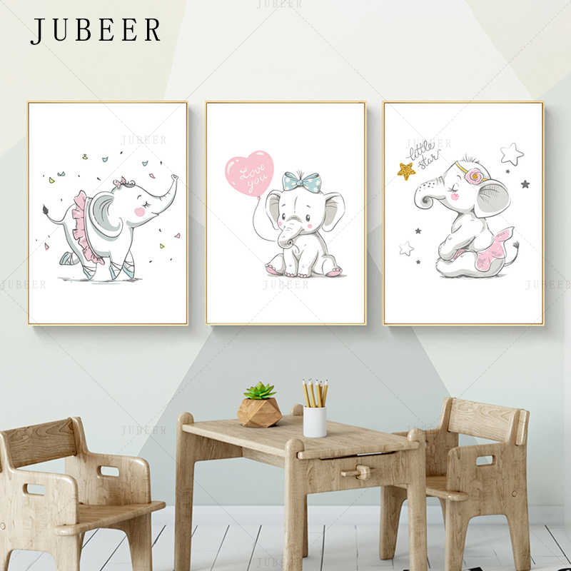 Lovely Animal Poster Cute Elephant Wall Picture Nursery Art Style Poster Children Girl Bedroom Decoration Painting Home Decor