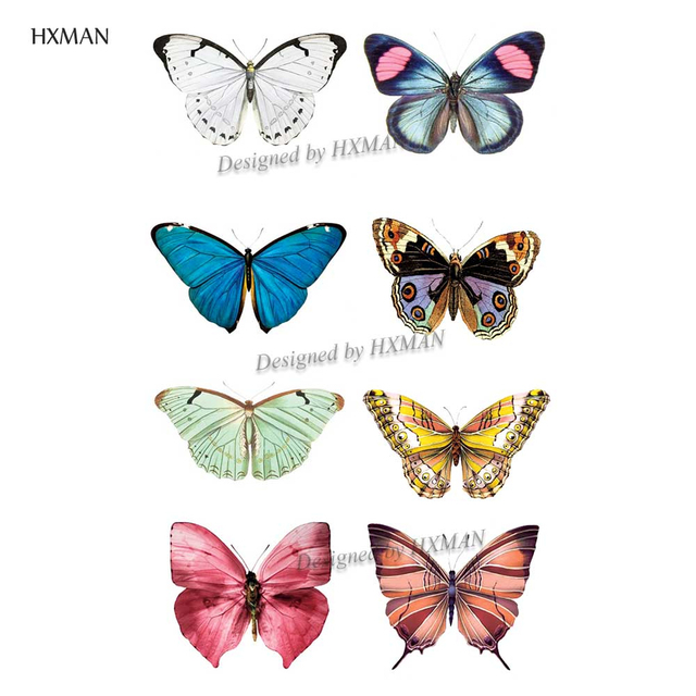HXMAN Watercolor Butterfly Temporary Tattoo Sticker Waterproof Women Fake Tattoos Men Children Body Art Hot Design 9.8X6cm A-001 2