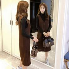 46e6c7e22 Nueva moda Coreana de lana vestido de la correa + fuera invisible lactancia  lana bottoming camisa