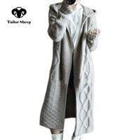 Портной Овцы 2018 зима новое пальто с капюшоном для женщин свободный кардиган женский длинный кашемировый свитер толстый вязаный кардиган