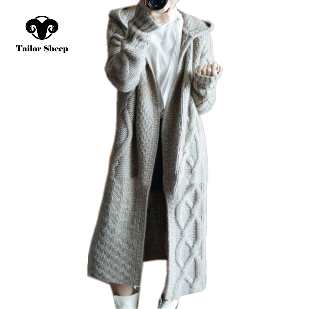 SUR MESURE MOUTONS 2018 hiver nouveau manteau à capuchon femmes lâche cardigan femelle long pull en cachemire épais cardigan en tricot