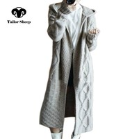 TAILOR SHEEP autumn winter new hooded coat women loose cardigan female long cashmere sweater thick knit cardigan