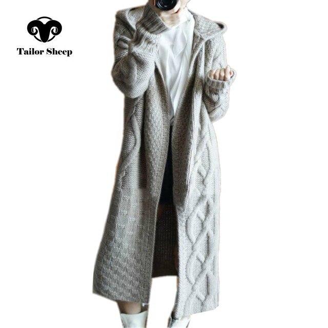חייט כבשים סתיו החורף חדש סלעית מעיל נשים loose קרדיגן נקבה ארוך קשמיר סוודר עבה לסרוג קרדיגן